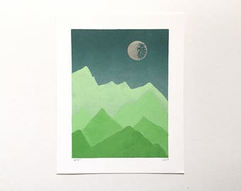 8x10 Letterpress Print - Ombre Sky Over Spring Green Mountains