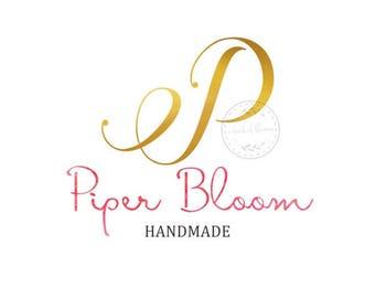 Premade Logo Gold Script Initial Logo Modern Custom Shop Logo Business Card Branding Design Wedding Signs LD266