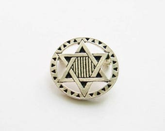 Signed Star of David Brooch Pin // Silver Plated // Made in England // Jewish / Israeli Symbol / Judaism Religious Accessories