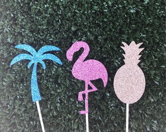Tropical cupcake toppers