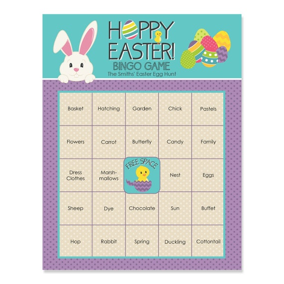 Easter Party Bingo Game - Hippity Hoppity - Easter Party Bingo Game - Happy Easter Bingo Game - Easter Egg Hunt - 16 - Bar Bingo Cards