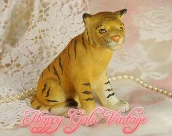 Tiger Figurine / Vintage Tiger / Tiger Art / Tiger Sculpture / Porcelain Tiger / Ceramic Tiger / Collectible Tiger / Bengal Tiger Gift