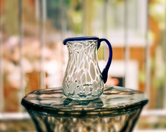 Small Glass Bubble Pitcher or wine pitcher
