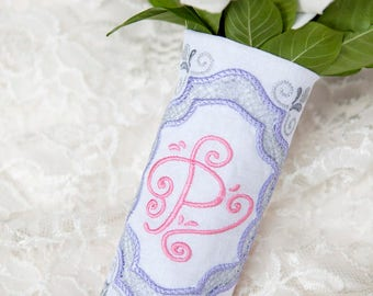 Custom Monogram Bridal Bouquet Wrap ~ Cutwork Motif Frame with Monogram