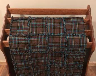 Teal & Brown Plaid Rag Quilt