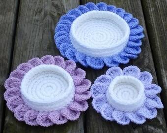 Crochet basket set of THREE-crocheted basket-crochet storage-basket storage-basket-hand crochet basket-storage-set of baskets-storage basket