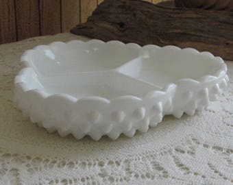 Vintage Fenton Hobnail Milk Glass Dish Divided Relish Tray Vintage White Dining Ware (1970s)