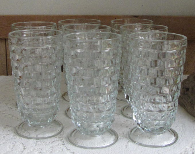 Whitehall Ice Tea Glasses by Colony Cubed Geometric Pattern Priced Individually Eight (8) Available Vintage Drinkware 1964- 1970