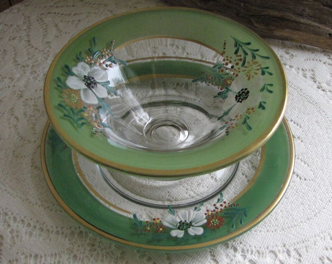 Green Hand Painted Bowl and Underplate Edwardian Berry Bowl or Compote Vintage Table Settings and Tea Plates