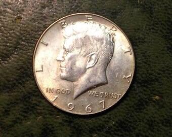 1967 40%  Silver Kennedy Half Dollar Plain