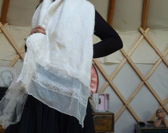 Ecru shawl in old lace and felted wool