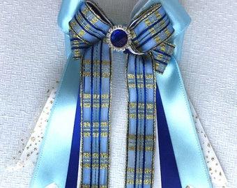 Equestrian Hair Bows/equestrian clothing/blue sparkle gem/beautiful gift