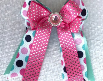 Horse show bows/equestrian clothing/blue pink sparkle gem