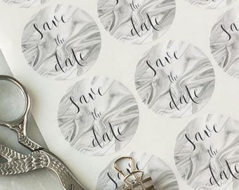 "Save the Date Stickers Save the Date Labels Wedding Invitation Envelope Seals Grey Marble Print 37mm 1.3/8""  35 labels"
