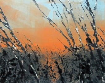 Original  Orange Blue Grey Abstract Landscape Monotype Print Wall Art OOAK  Fine Art  Print by Zinnia Gallery