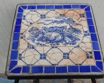 Cottage Chic Ceramic Tile Barnyard Side Table!