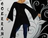 Tunique  stretch ,tunique longue ,tunique de fête  , tunique asymétrique  ' Black Velvet  ...'