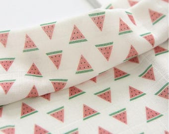 Watermelon Pattern Digital Printing Cotton Gauze Fabric by Yard