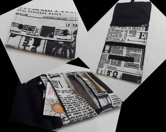 """Tobacco pouch pattern """"journal"""" and black"""