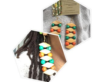 Clusters of diamonds with wood earrings, and green and orange acai seeds