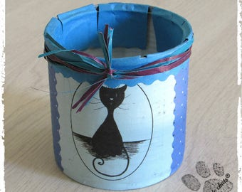 Pencil holder iron tribe of cats, blue and polka dots