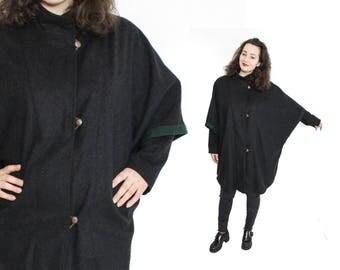 Cape coat woman, Loden cape coat, Austrian cape, Dirndl cape, Medieval cape, Vintage poncho cape, Grey poncho coat, Woman Trachten / Medium
