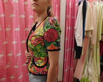 1980 floral sequin top  size s