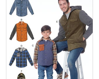 McCall's Pattern M7638 Men's and Boys' Lined Button-Front Jackets with Hood Options
