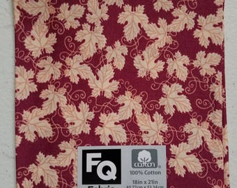 "Fabric Quarters Cotton Fabric 18""-  Burgundy Leaves"