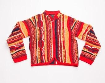 Vintage Coogi 90s Zip Up Printed Cardigan