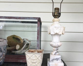 Vintage alabaster lamp base with harp and finial