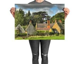 Harlestone Village Print British Village British Countryside English Village Country Village English Countryside British Landscape