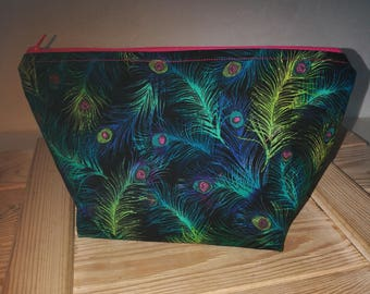 Knitting projectbag whit feathers