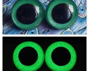 30mm Glow In The Dark Safety Eyes, Green Glitter Safety Eyes With Green Glow, 1 Pair Of Hand Painted Plastic Safety Eyes