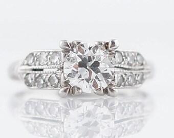 Antique Engagement Ring Art Deco .67 Old European Cut Diamond in Platinum