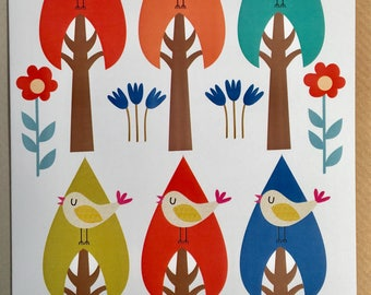 Birdy print greeting card