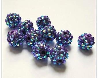 Pearl rhinestone 12 mm dark purple shamballa