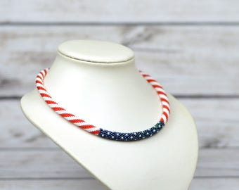 4th July jewelry usa necklace unisex jewelry american flag necklace patriotic jewelry usa flag jewelry patriotic necklace beaded necklace