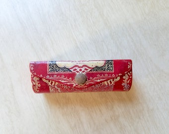 Vintage Red Leather Made in Italy Lipstick Case