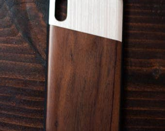 iPhone X case with Bois de rose wood and silver metal