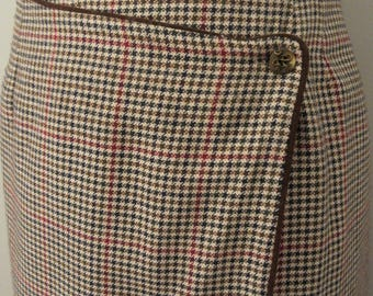 90s Houndstooth Skirt Plaid Midi Large Womens Skirts Fall Clothing Winter Wrap Skirt Brown Office Vintage Clothing 1990s Womens Clothing