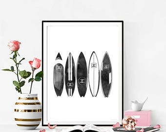 INSTANT DOWNLOAD Chanel Print. Fashion Illustration. Chanel Surfboards Watercolor artwork. Fashion Illustration. Modern Home Décor.