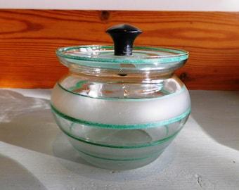 Vintage 1930s Lidded Glass Preserve Jar Jam Pot Conserve Art Deco
