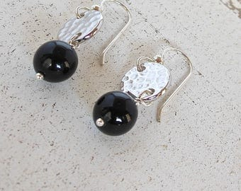 Black Onyx Earrings, Dangle Earrings, Onyx Earrings, Silver Disc Earrings, Silver Earrings, Disc Earrings, Earrings, Black and Silver,