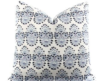 Boho Pillow Cover, Indigo, Blue, White, Linen, Floral, Pattern, SKU07252