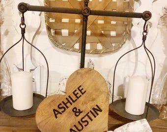 Set of 3 Custom Engraved Chippy Farmhouse Wood Hearts