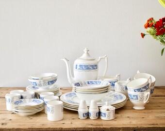 CoalPort Revelry Dinnerware Set, 40 pc Blue and White Bone China Dinner Set, Wedding China, Gift for Her