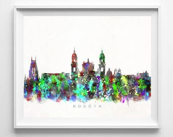 Bogota Skyline Print, Colombia Print, Bogota Poster, Colombian Art, Cityscape, Wall Art, City Art, Wall Decor, Prints, Mothers Day Gift