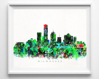 Milwaukee Skyline, Art Print, Milwaukee Poster, Wisconsin Print, Watercolor Art, Cityscape, Wall Art, Home Decor, Mothers Day Gift
