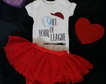 Out of your league baseball onesie